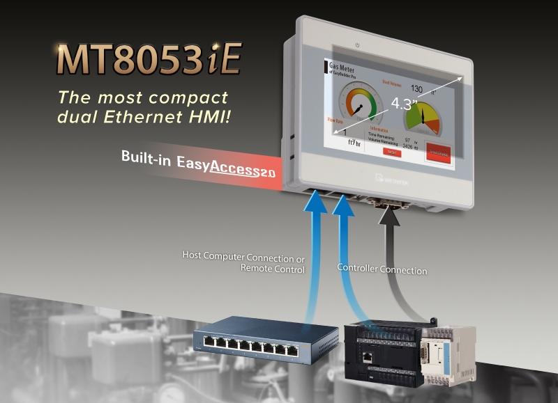 Новая панель MT8053iE – 2 порта Ethernet в компактном исполнении